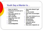 youth say a mentor is
