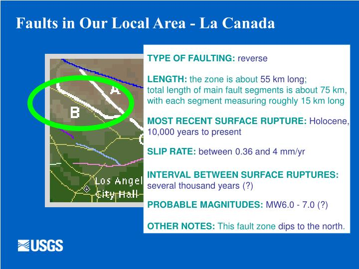 Faults in Our Local Area - La Canada