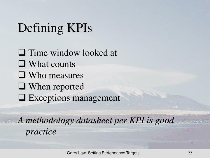 Defining KPIs