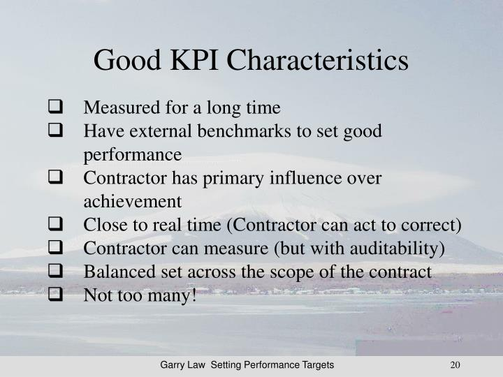 Good KPI Characteristics