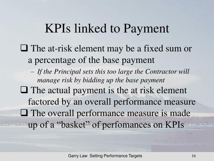 KPIs linked to Payment