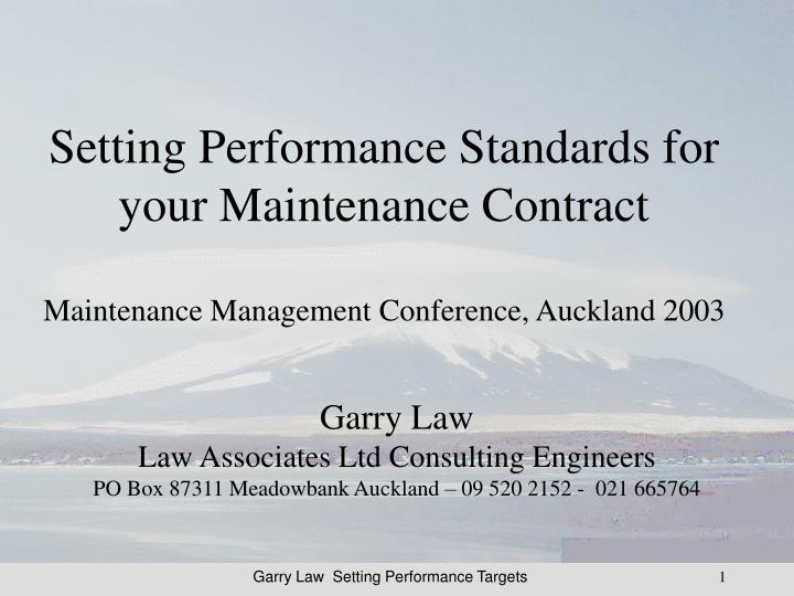 Setting Performance Standards for your Maintenance Contract
