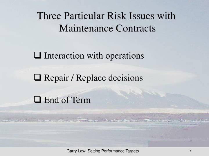 Three Particular Risk Issues with