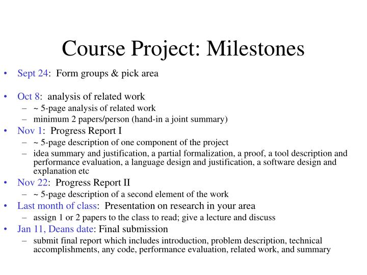 Course Project: Milestones