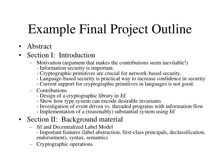 Example Final Project Outline