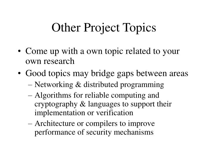 Other Project Topics