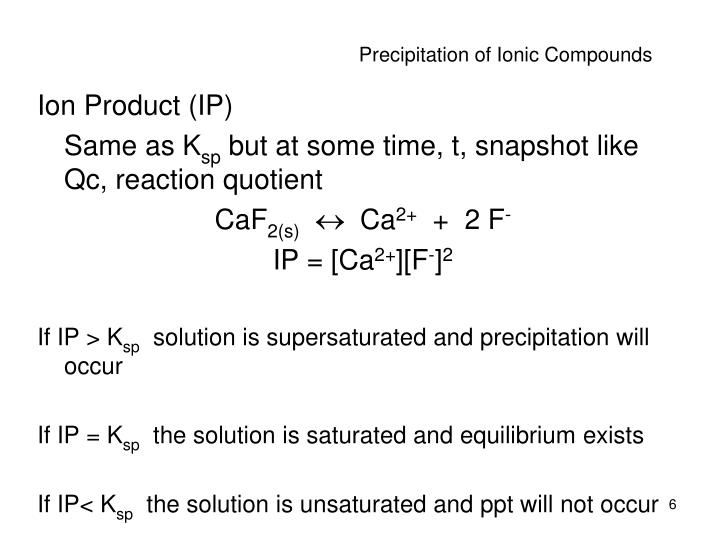 Precipitation of Ionic Compounds