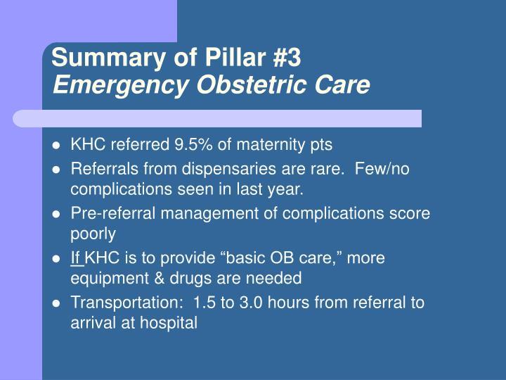 Summary of Pillar #3