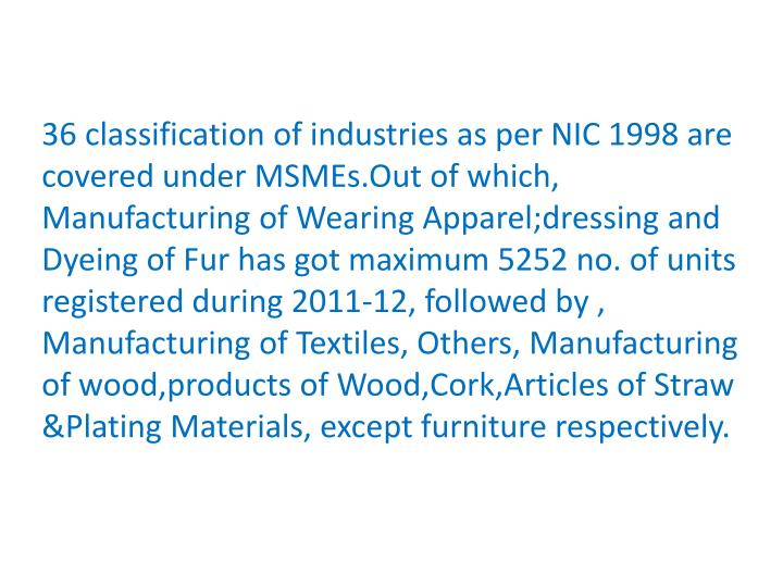 36 classification of industries as per NIC 1998 are covered under
