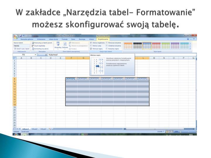 """W zakładce """"Narzędzia tabel- Formatowanie"""" możesz skonfigurować swoją tabelę"""