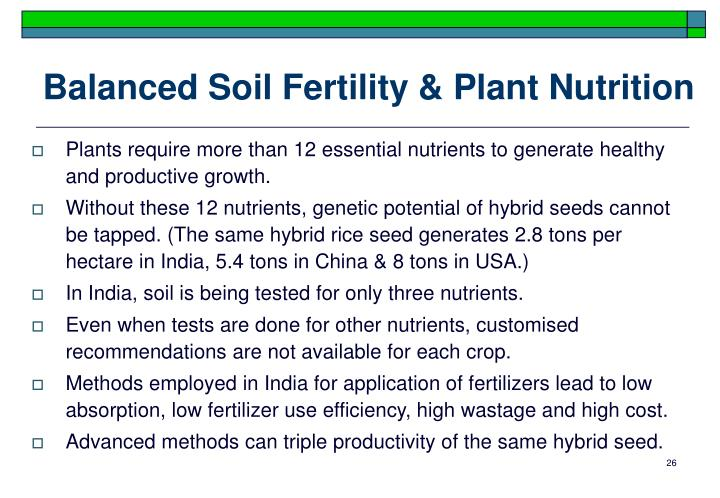 Balanced Soil Fertility & Plant Nutrition
