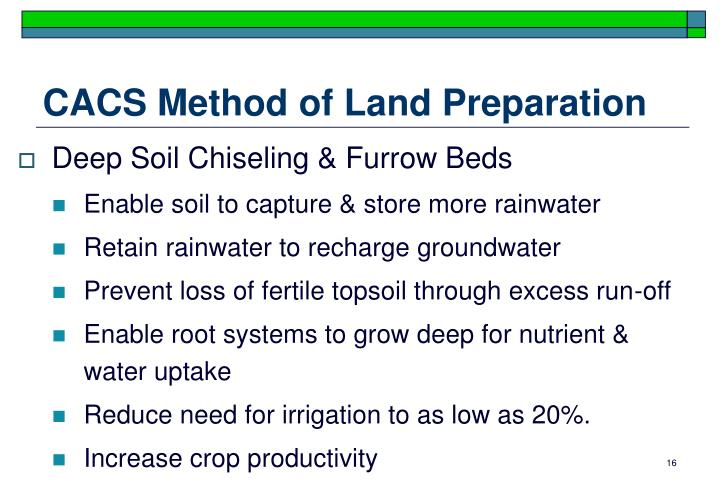 CACS Method of Land Preparation