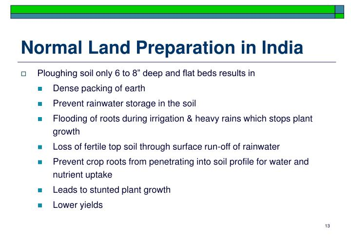 Normal Land Preparation in India