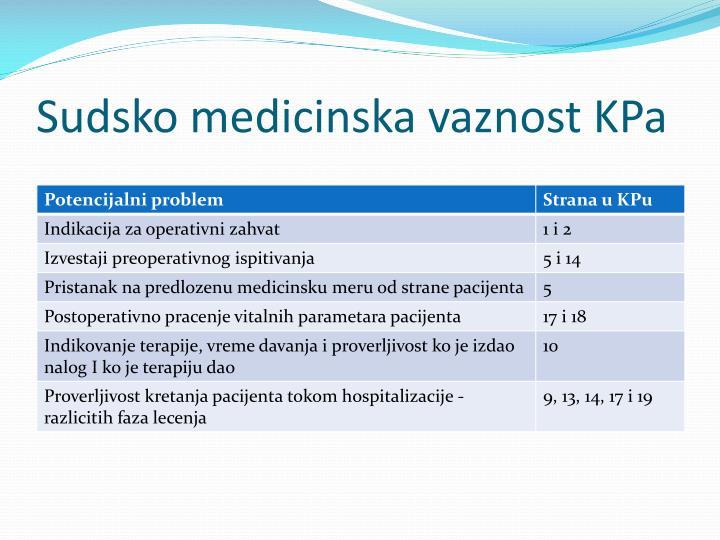 Sudsko medicinska vaznost KPa