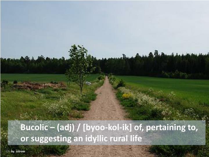 Bucolic – (adj) / [byoo-kol-ik] of, pertaining to, or suggesting an idyllic rural life