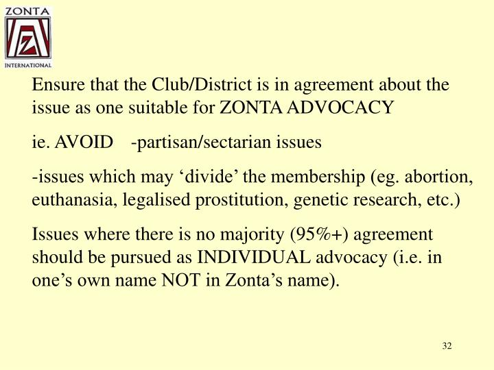 Ensure that the Club/District is in agreement about the issue as one suitable for ZONTA ADVOCACY