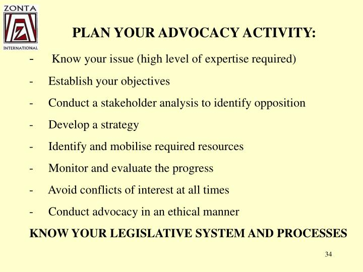 PLAN YOUR ADVOCACY ACTIVITY: