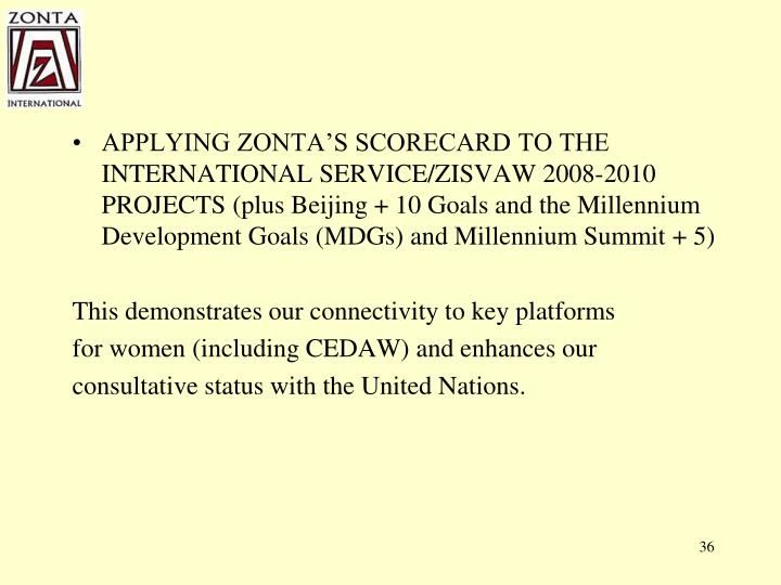 APPLYING ZONTA'S SCORECARD TO THE INTERNATIONAL SERVICE/ZISVAW 2008-2010 PROJECTS (plus Beijing + 10 Goals and the Millennium Development Goals (MDGs) and Millennium Summit + 5)