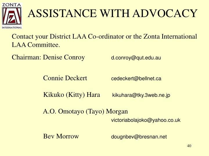 ASSISTANCE WITH ADVOCACY