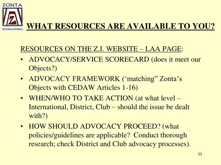 WHAT RESOURCES ARE AVAILABLE TO YOU?
