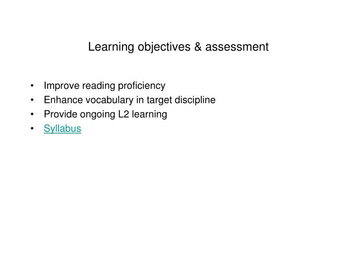Learning objectives & assessment