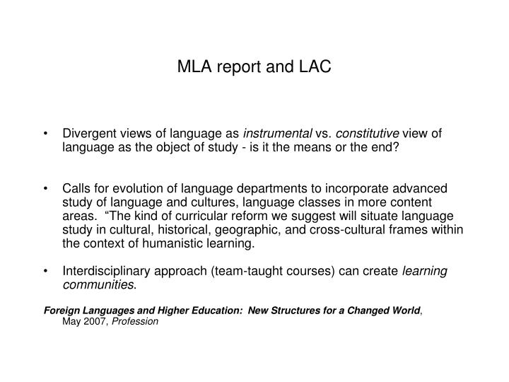 MLA report and LAC