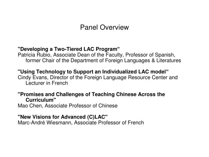 Panel overview