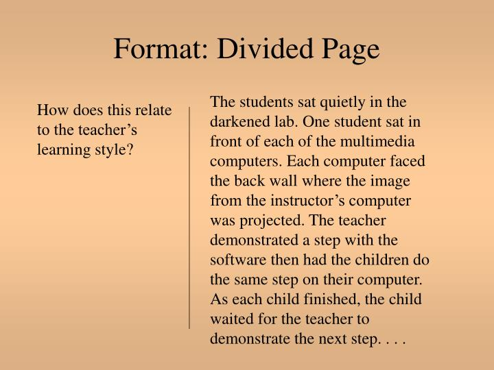Format: Divided Page