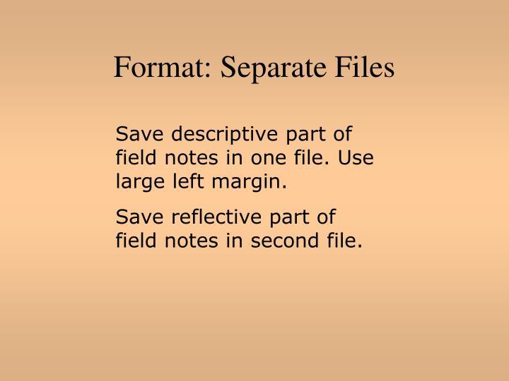Format: Separate Files