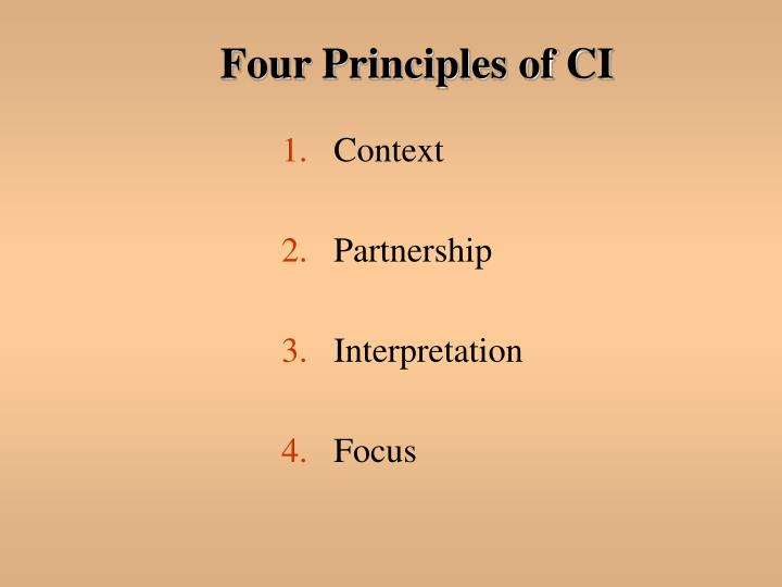 Four Principles of CI