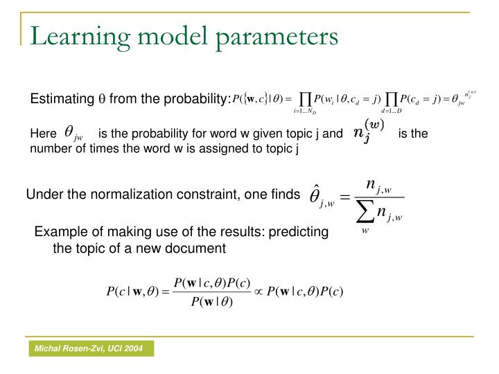 Learning model parameters