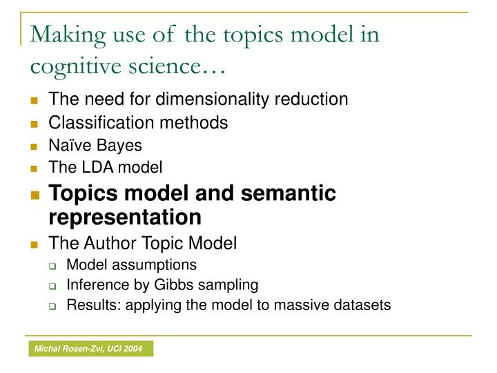 Making use of the topics model in cognitive science…