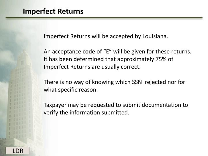 Imperfect Returns