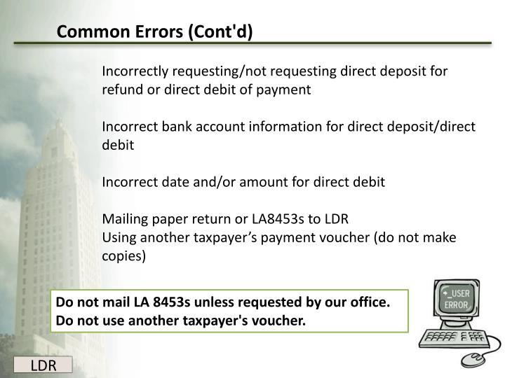 Common Errors (Cont'd)