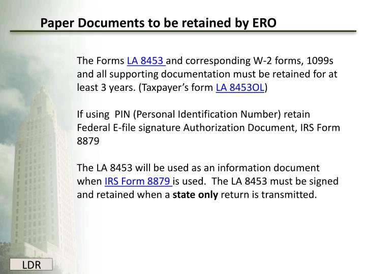 Paper Documents to be retained by ERO