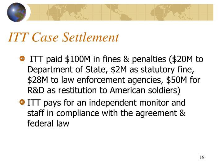 ITT Case Settlement