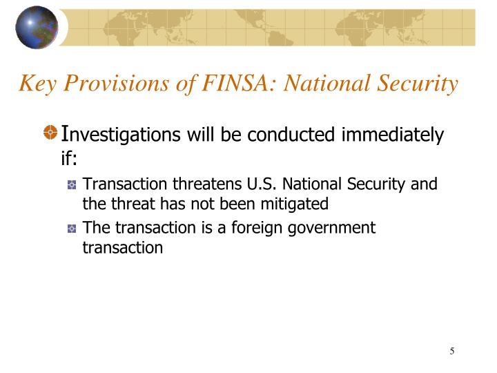 Key Provisions of FINSA: National Security