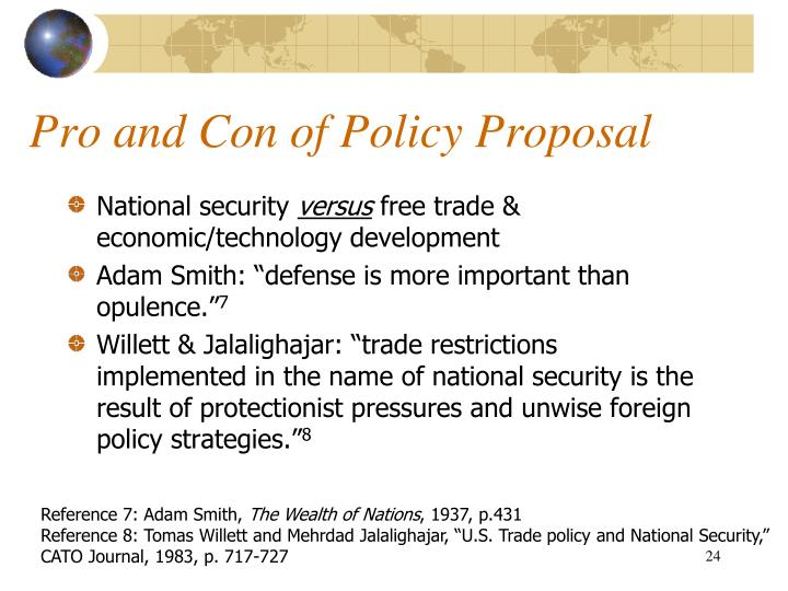 Pro and Con of Policy Proposal