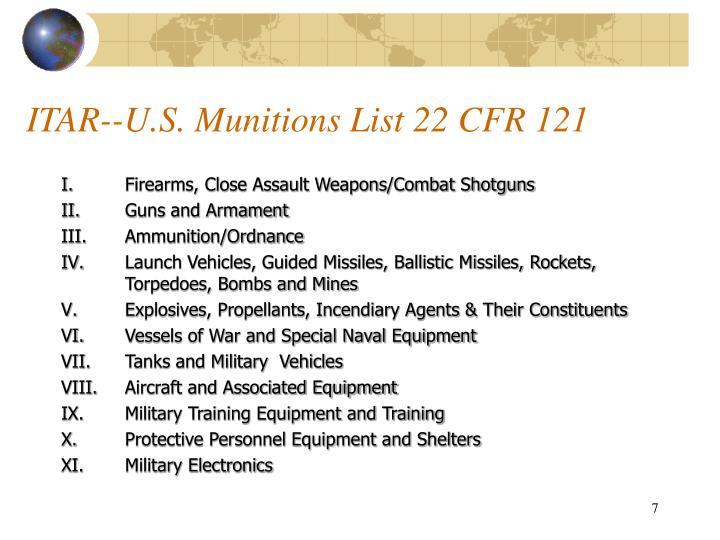 ITAR--U.S. Munitions List 22 CFR 121