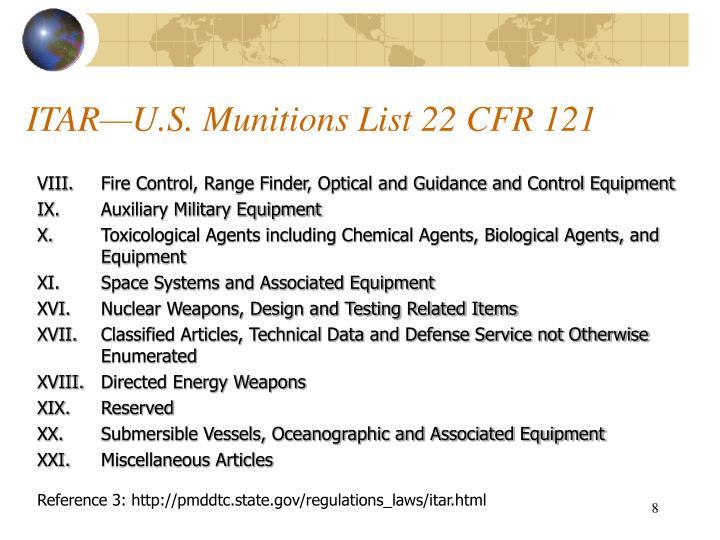ITAR—U.S. Munitions List 22 CFR 121