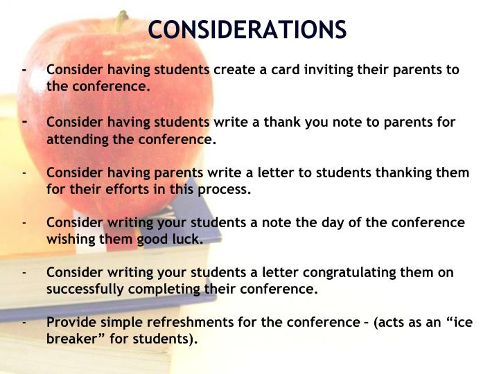 -Consider having students create a card inviting their parents to the conference.