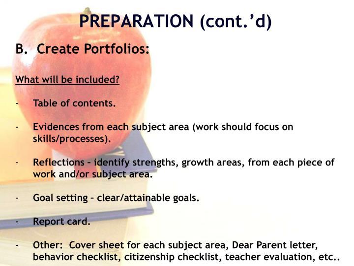 B.  Create Portfolios: