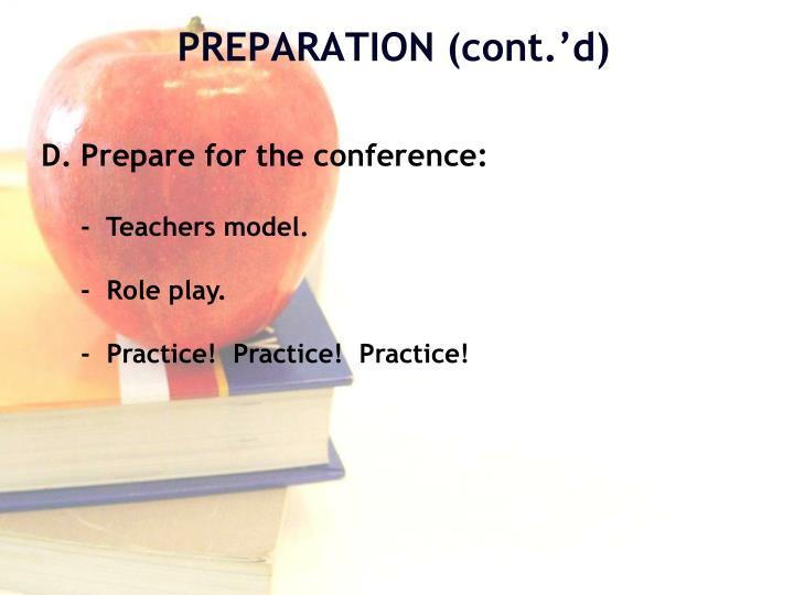 Prepare for the conference: