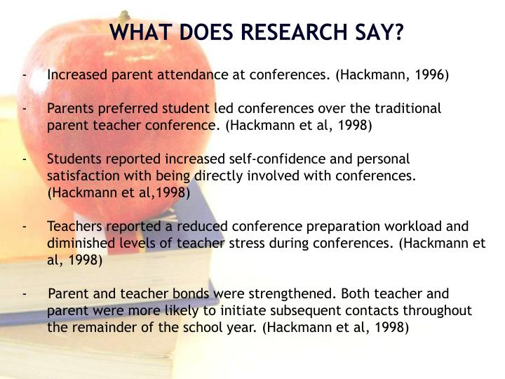 Increased parent attendance at conferences. (Hackmann, 1996)