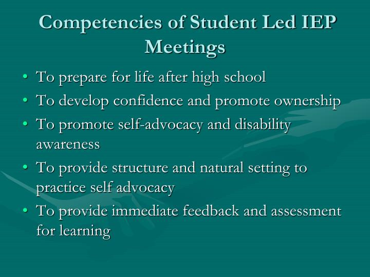 Competencies of Student Led IEP Meetings