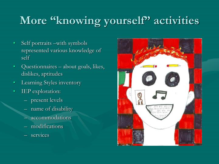 "More ""knowing yourself"" activities"