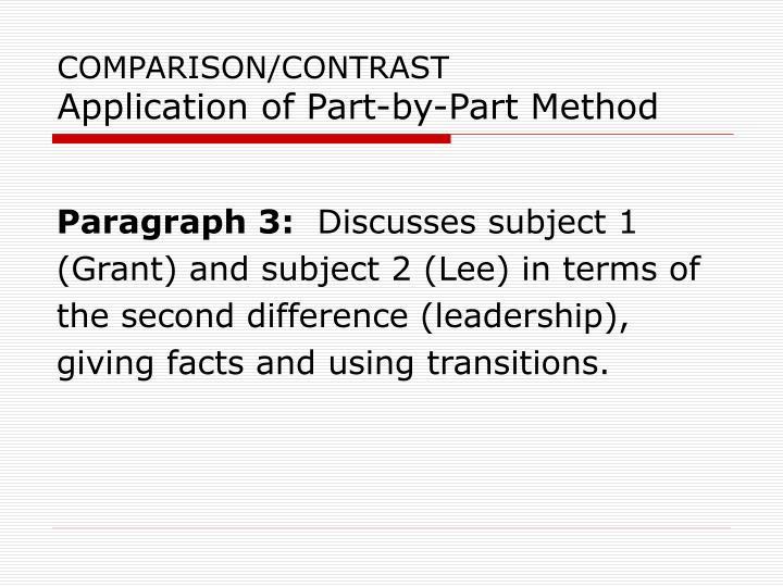 COMPARISON/CONTRAST
