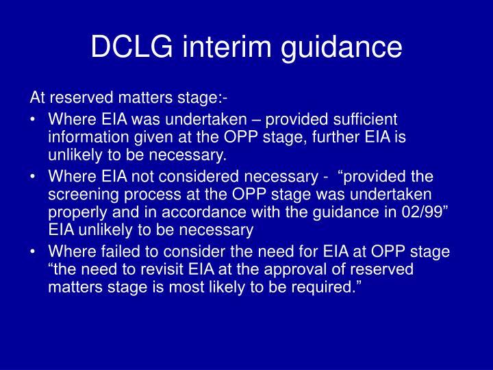 DCLG interim guidance