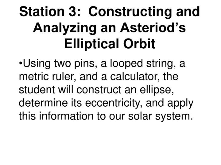 Station 3:  Constructing and Analyzing an Asteriod's Elliptical Orbit