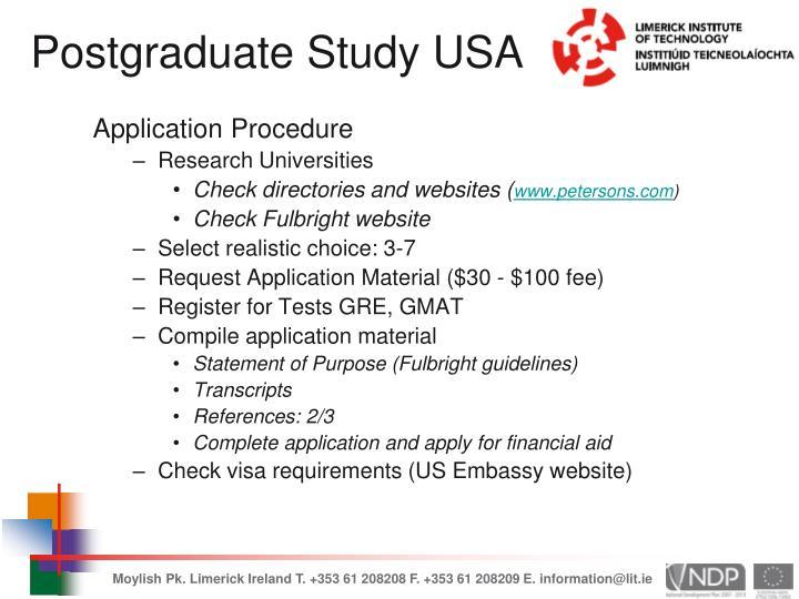 Postgraduate Study USA